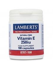 Vitamina e natural 250 ui 100 capsulas adequada para vegetarianos lamberts