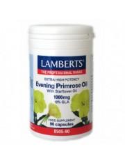 primula óleo extra (rico ômega6) alta potência com borragem 1000mg 12%gla 90 capsulas lamberts