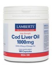 óleo de fígado de bacalhau 1000 mg (epa 144/dha 107 mg) 180 capsulas lamberts